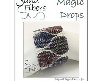 Peyote Pattern - Magic Drops Peyote Cuff / Bracelet  - A Sand Fibers For Personal and Commercial Use PDF Pattern