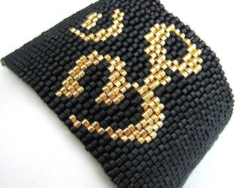 Gold Ohm Peyote Cuff (2154)