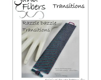 Peyote Pattern - Razzle Dazzle Transitions  Peyote Cuff / Bracelet  - A Sand Fibers For Personal/Commercial Use PDF Pattern