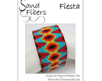 Peyote Pattern - Fiesta Peyote Cuff / Bracelet  - A Sand Fibers For Personal/Commercial Use PDF Pattern