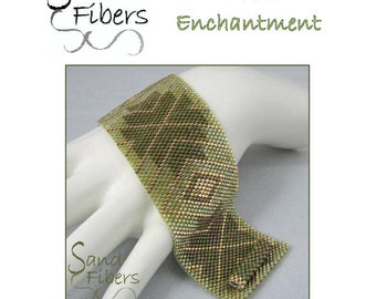 Peyote Pattern - Verdant Enchantment Peyote Cuff / Bracelet  - A Sand Fibers For Personal/Commercial Use PDF Pattern