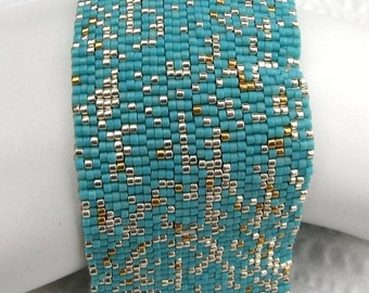 Turquoise with Silver and Gold Peyote Cuff / Peyote Bracelet (2076) - A Sand Fibers Made-to-Order Creation