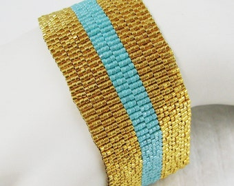 The Stripes - Gold and Sea Opal Peyote Cuff Bracelet (2565) - A Sand Fibers Creation