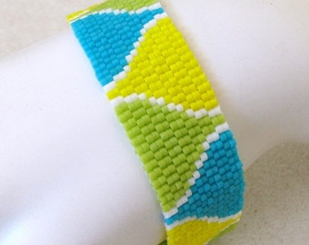 Summer Funnels Peyote Cuff Bracelet (2491) - A Sand Fibers Creation