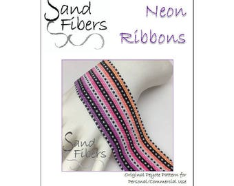 Peyote Pattern - Neon Ribbons Peyote Cuff / Bracelet  - A Sand Fibers For Personal and Commercial Use PDF Pattern