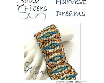 Peyote Pattern - Harvest Dreams Peyote Cuff / Bracelet  - A Sand Fibers For Personal and Commercial Use PDF Pattern
