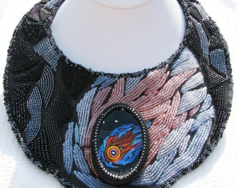 Cosmic Collar - A Collaboration in Beadweaving, Bead Embroidery, and Mosaic Art (2600)