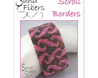 Peyote Pattern - Scroll Borders Peyote Cuff / Bracelet  - A Sand Fibers For Personal/Commercial Use PDF Pattern