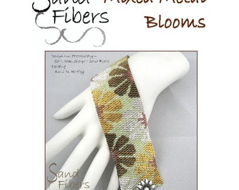 Peyote Pattern - Mixed Metal Blooms Peyote Cuff / Bracelet  - A Sand Fibers For Personal/Commercial Use PDF Pattern