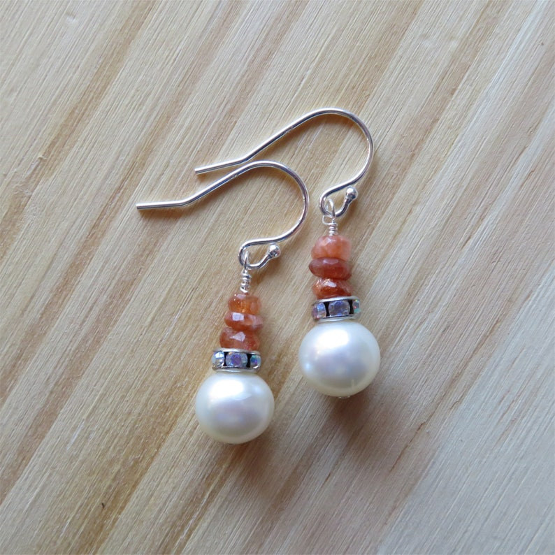 Freshwater Pearl and Sunstone Earrings in Sterling Silver  image 0