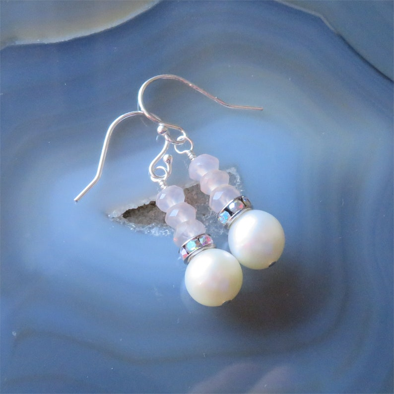Freshwater Pearl and Rose Quartz Earrings in Sterling Silver  image 0