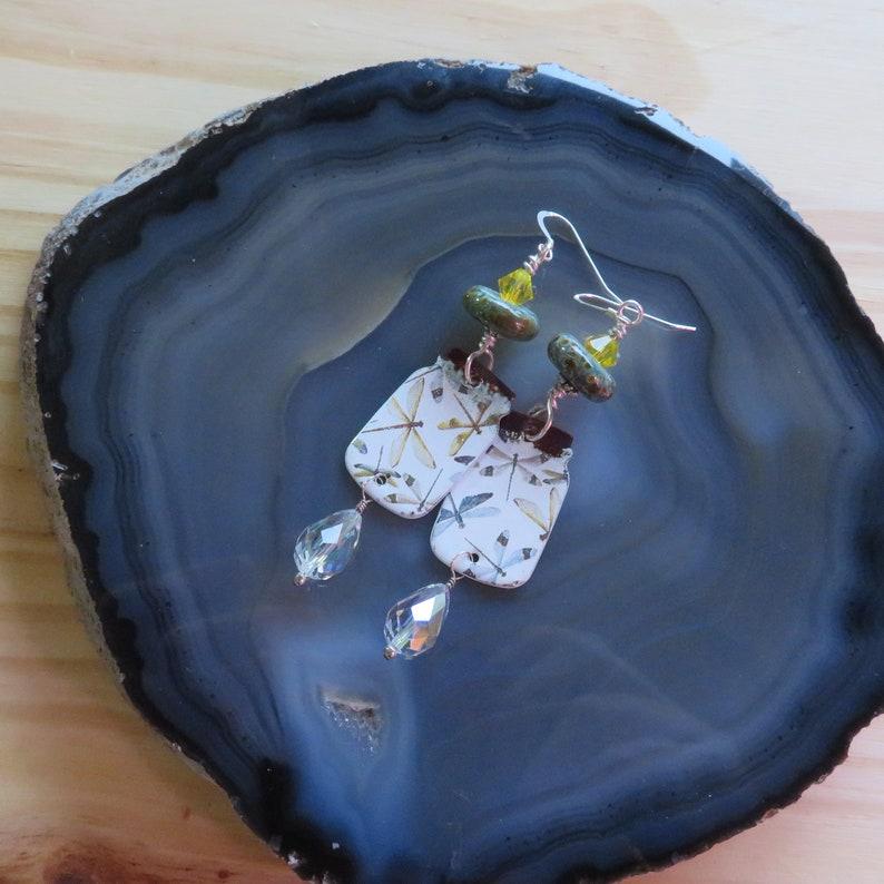 Yellow Swarovski Lampwork Glass and Enamel Dragonfly Earrings image 0