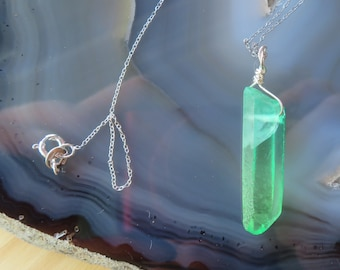 """Bicolor Crystal Quartz Point in Greens in all Sterling Silver on 16"""" or 18"""" chain"""