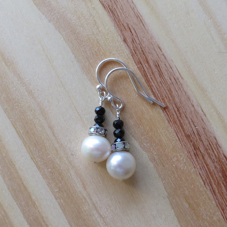 Freshwater Pearl and Black Spinel Earrings in Sterling Silver image 0