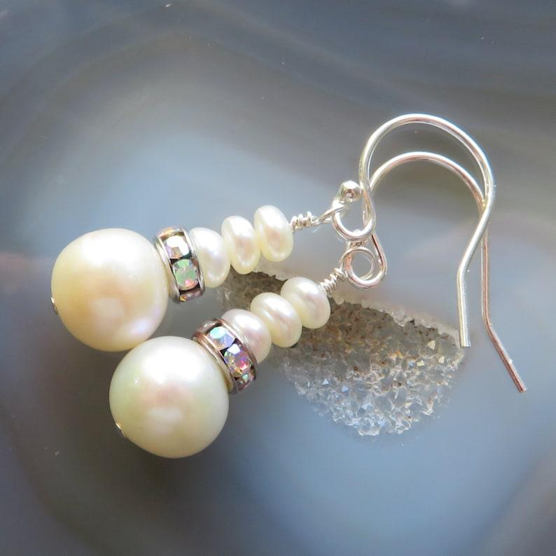 Freshwater Pearl Earrings in Sterling Silver  Bride image 0