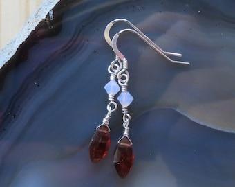 Garnet and Swarovski Dangle Earrings in Sterling Silver