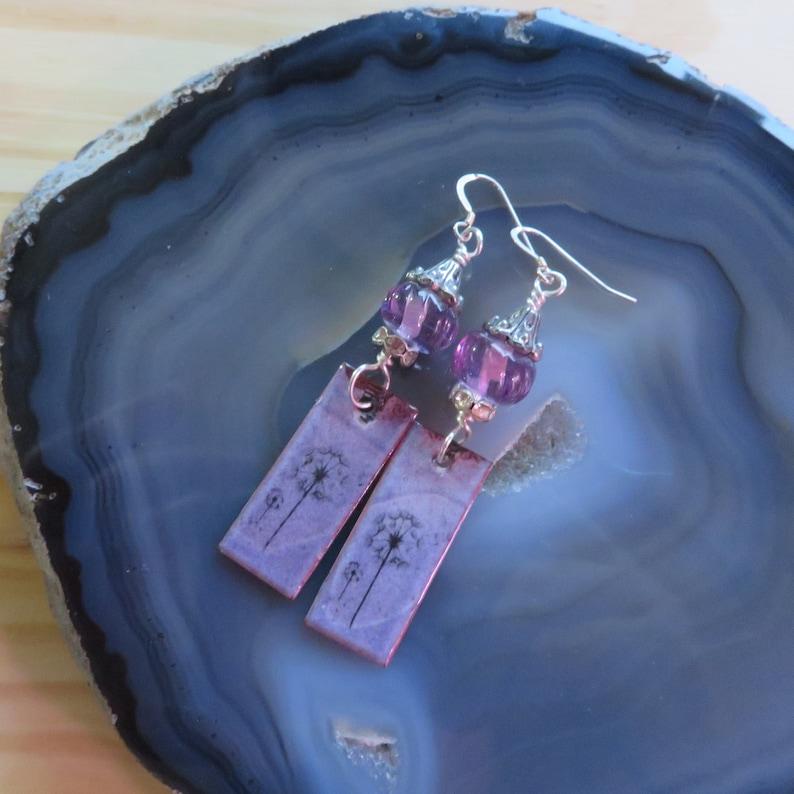 Wishing Flower Dandelion Earrings in Purple with Lampwork image 0