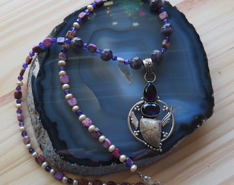TRAIN OF THOUGHTS -- Amethyst, Freshwater Pearls, Purple Imperial Jasper Necklace with Sterling Silver