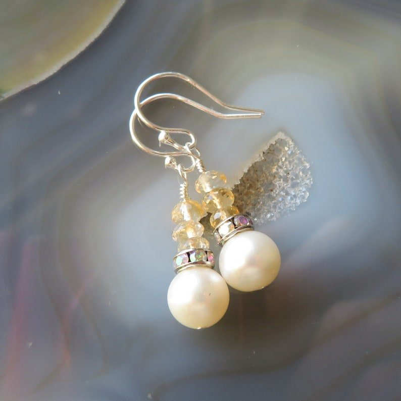 Freshwater Pearl and Citrine Earrings in Sterling Silver  image 0