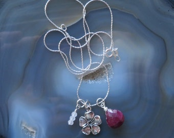 Sakura Cherry Blossom with Rose Quartz and Ruby Teardrop Accents on Sterling Silver Chain