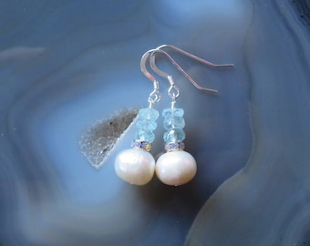 Freshwater Pearl and Aquamarine Earrings in Sterling Silver - Bride, Bridesmaid Gift, MARCH Birthstone