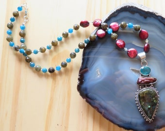 SUMMER SWAY -- Labradorite, Freshwater Pearl, Apatite, Ethiopian Opal and Sterling Silver