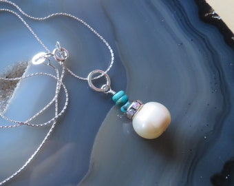 Freshwater Pearl and Turquoise Pendant in Sterling Silver - Bride, Bridesmaid Gift, DECEMBER Birthstone