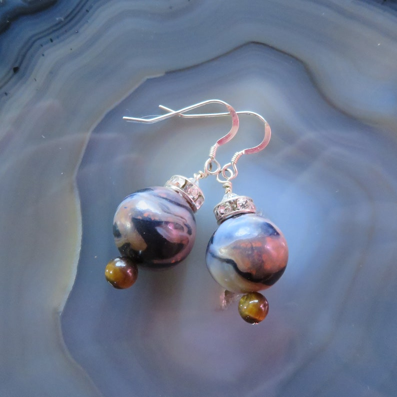 Tigereye Polymer Clay and Swarovski Earrings in Sterling image 0