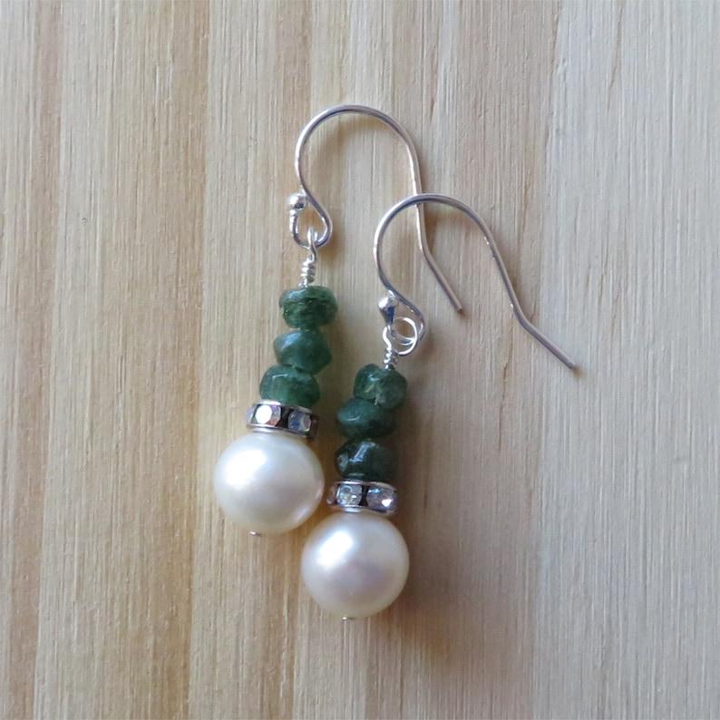 Freshwater Pearl and Green Aventurine Earrings in Sterling image 0