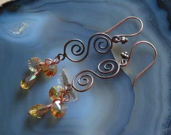 Copper! Copper and Czech Glass Dangle Earrings - NOT hypoallergenic