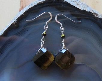 Tigereye and Swarovski Dangle Earrings in Sterling Silver