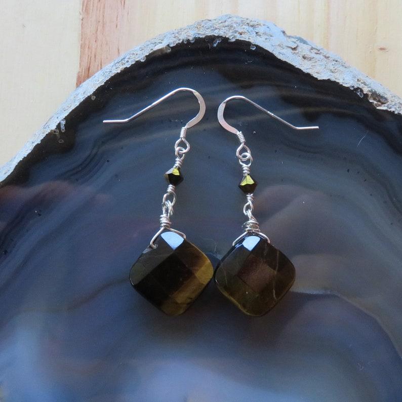 Tigereye and Swarovski Dangle Earrings in Sterling Silver image 0