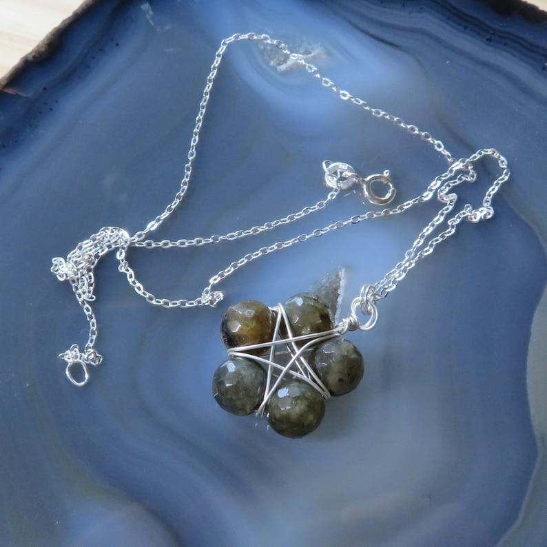 Dark Green Labradorite Star Necklace on 16 or 18 image 0
