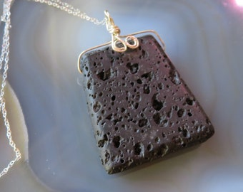Lava Stone Pendant wrapped in Sterling Silver on Sterling Silver Chain