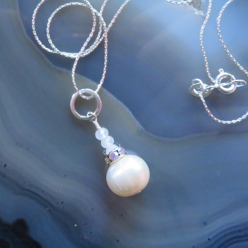 Freshwater Pearl and Dainty Rose Quartz Pendant in Sterling image 0