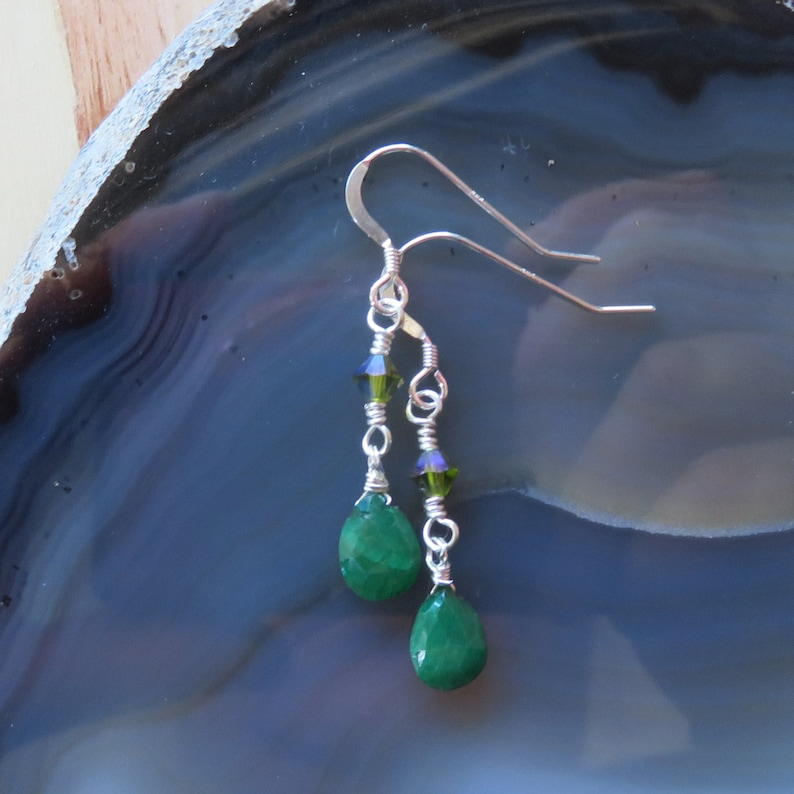 Emerald and Swarovski Dangle Earrings in Sterling Silver image 0