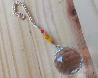 Beautiful Suncatcher with 30mm Prism, Accented with Shades of Orange with Suction Cup
