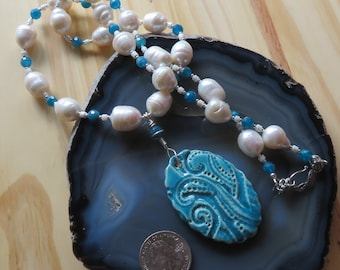 OCEAN DREAMS - Octopus Necklace with Large Freshwater Pearls, Apatite, Sterling Silver and Shell with an Artisan made Ceramic Pendant
