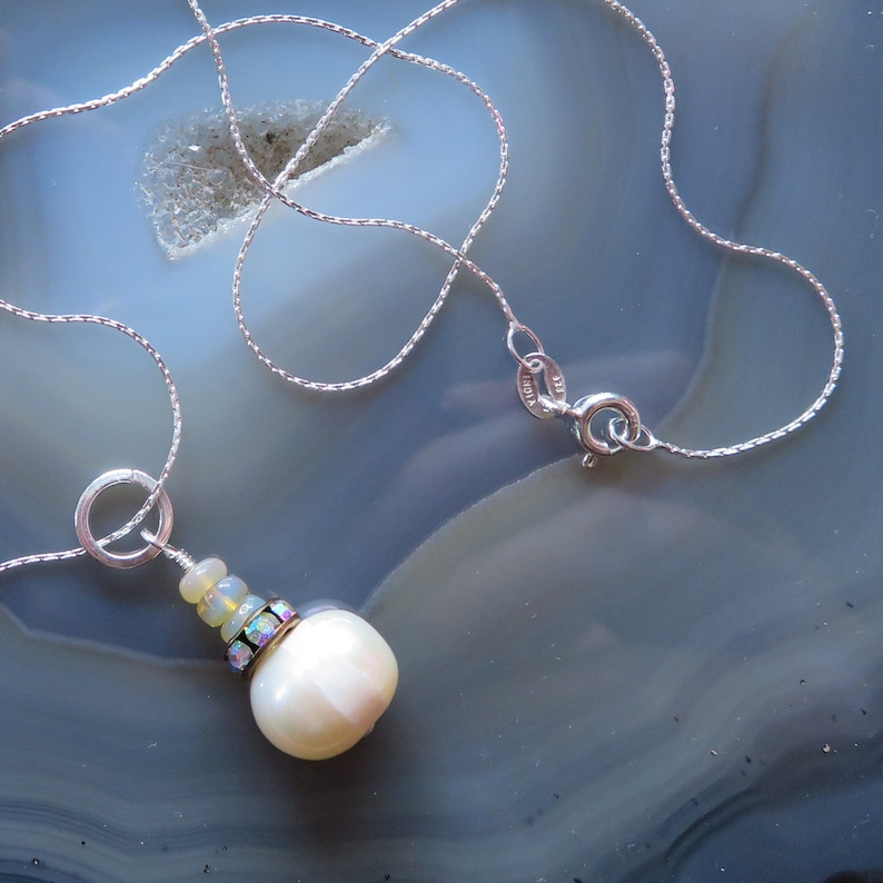 Freshwater Pearl and Ethiopian Opal Pendant in Sterling Silver image 0