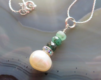 Freshwater Pearl and Shaded Emeralds Pendant in Sterling Silver - Bride, Bridesmaid Gift, MAY Birthstone
