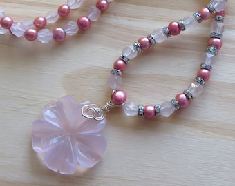 DREAMS IN PINK -- Rose Quartz, Freshwater Pearls, Crystal Necklace in Sterling Silver with Carved Rose Quartz Flower