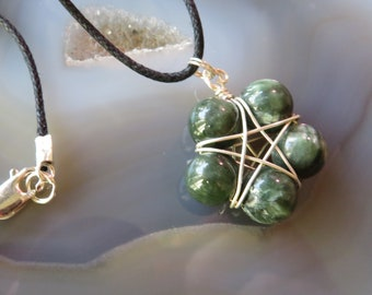 """Seraphinite (Green) Star worked in Sterling Silver on 20"""" Cord with Sterling Findings"""