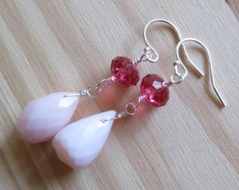 Pink Opal and Swarovski Dainty Dangle Earrings in Sterling Silver