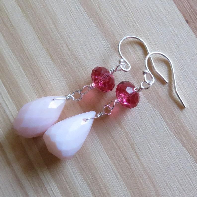 Pink Opal and Swarovski Dainty Dangle Earrings in Sterling image 0