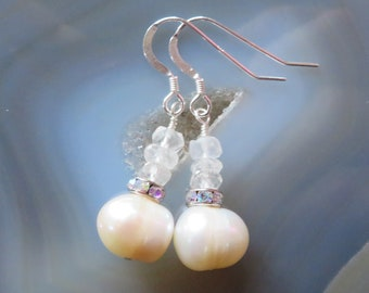 Freshwater Pearl and Crystal Quartz Earrings in Sterling Silver - Bride, Bridesmaid Gift, APRIL Birthstone