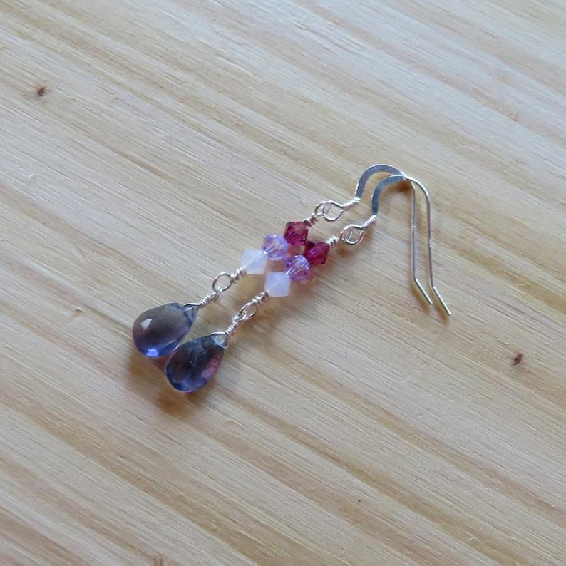 Iolite and Swarovski Crystal Earrings in Sterling Silver image 0