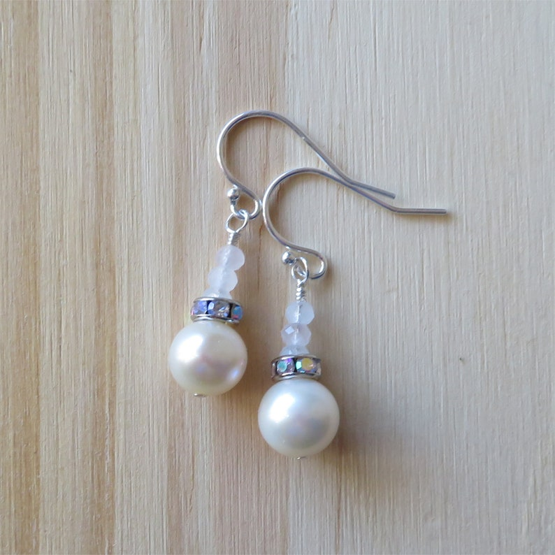 Freshwater Pearl and Dainty Rose Quartz Earrings in Sterling image 0