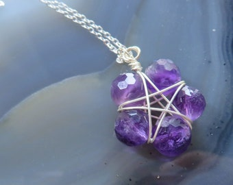 """Deep Purple Amethyst Sterling Silver Star Necklace on 16"""" or 18"""" Sterling Silver Chain - hand wrapped"""