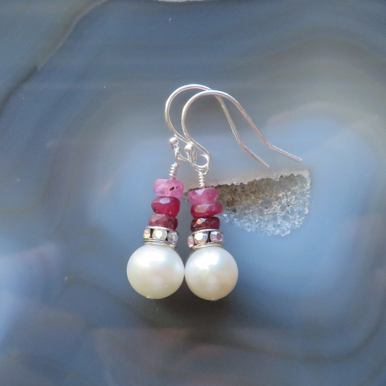 Freshwater Pearl and Shaded Ruby Earrings in Sterling Silver  image 0