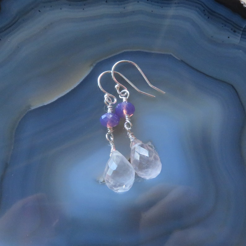 Rose Quartz and Swarovski Dainty Dangle Earrings in Sterling image 0